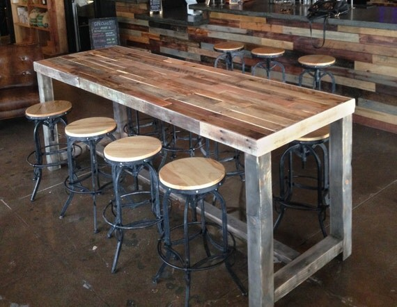 reclaimed wood bar restaurant counter community rustic custom kitchen ...
