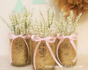 Baby Shower Decorations, Baby Shower Centerpieces, Bridal Shower Decorations, Wedding Centerpiece, Pink and Gold Decor, Mason Glitter Jars 3