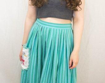 Green Stripe Full Midi Skirt 1950s Pocket Detail