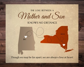 Mother's Day Gift, Long Distance Mother- Son Map,  Personalized Map for Mother and Son Living Far Away, Gift for Mother