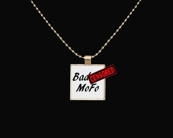 Badass pendant, badass MoFo, funny pendant, black and white, unique gifts, silver pendant, statement jewelry, novelty jewelry, novelty gift