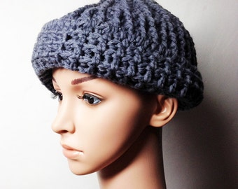 Grey LOU Crocheted Hat - Hand Made Crocheted Hat -  Grey Beanie Hat - Woman Hat - Man Hat - Ready To Ship