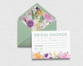 """Flutter Floral Typography 5"""" x 7"""" Bridal Shower Invitation - Digital or Printed"""