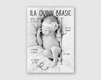 """Scribble Birth Stats 5"""" x 7"""" Birth Announcement - Digital or Printed"""