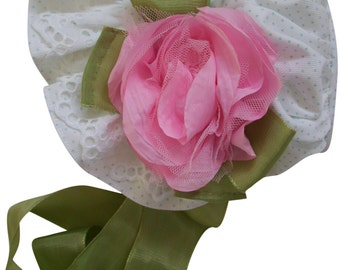 Pink Silk Rose on Dotted Twill with Eyelet and Green Silk Ribbon bow Baby Bonnet