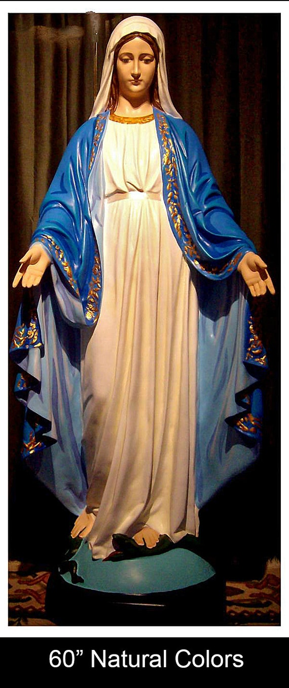 "Our Lady of Grace Miraculous Medal 60"" Fiberglass Statue (SALE)"