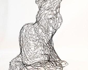 Maine Coon Cat 3D Wire Sculpture by Elizabeth Berrien