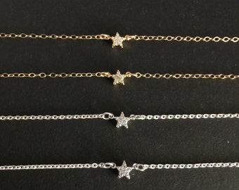 Double Sided Star CZ Necklace, Dainty Star Necklace, Tiny Star CZ Necklace, Silver or Gold Star, Delicate Star Necklace, Minimalist Necklace