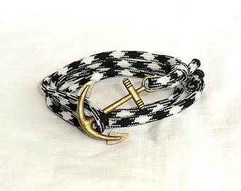 Anchor Bracelet Anchor Rope Bracelet Nautical Bracelet Paracord Bracelet Anchor Jewelry Nautical Jewelry Gift for her Gift for him