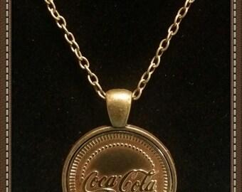 "Handcrafted Coca Cola Token Pendant Necklace 23"" Chain"