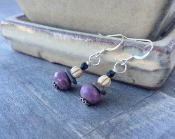 Beaded earrings colorful jewelry unique earrings purple handmade czech beads boho jewelry bohemian gypsy earrings holiday earrings statement