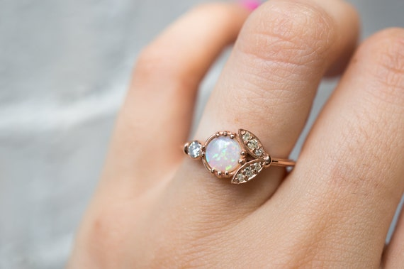 Opal And Diamond Engagement Ring Flower Engagement By SKindCo