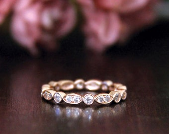 0.56 ct.tw Art Deco Full Eternity Ring-Brilliant Cut Diamond Simulant-Wedding Ring-Stacking Ring-Rose Gold Plated-Sterling Silver [3216RG]