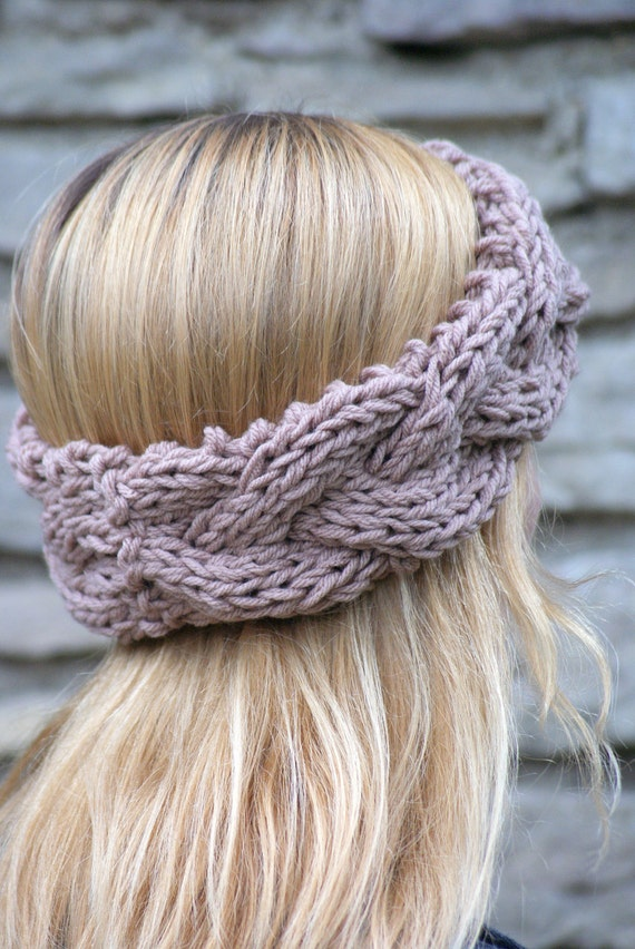 Womens Boho Braided Knit Headband Chunky Knit Fall and