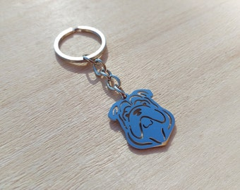 English Bulldog Keychain. Stainless steel