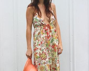 SALE! Floral Fling Dress: Retro Hippie Flower Festival Halter Cotton Dress
