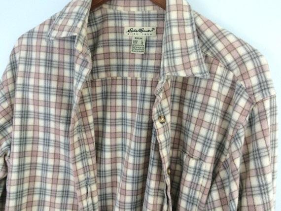 Vintage Eddie Bauer Flannel Shirt Pink And Gray Size L