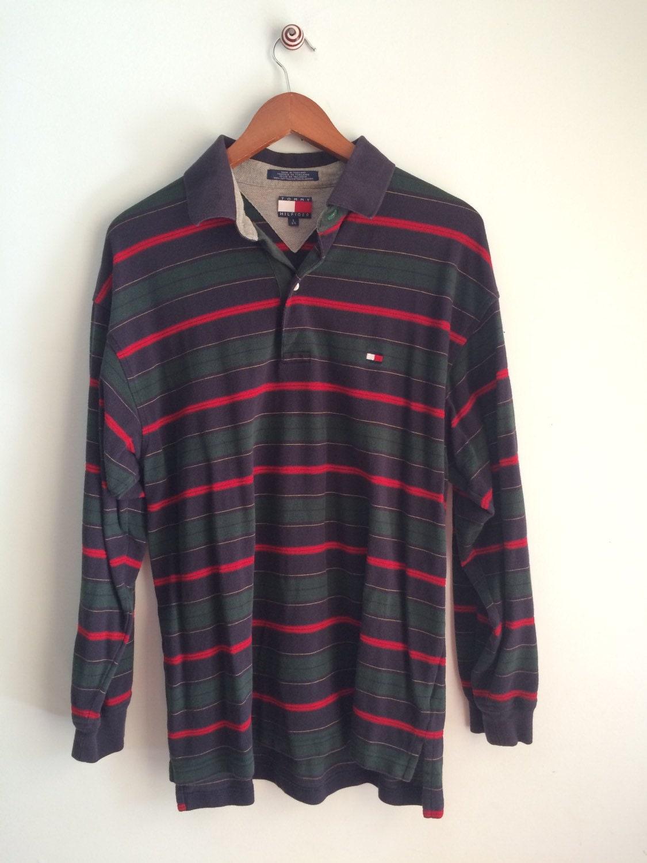 90 39 s tommy hilfiger polo shirt striped hunter green pique. Black Bedroom Furniture Sets. Home Design Ideas