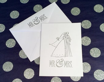 Mr and Mrs Wedding Card/Wedding Congratulations Card - Silver and White - Matching Mr and Mrs Envelope