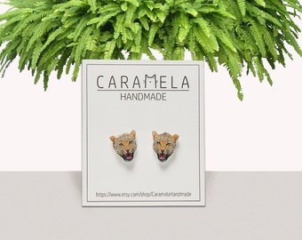 Leopard Stud Earrings  Animals studs Wild animals earring Gift idea for her