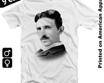 Nikola Tesla American Apparel T-shirt S-XXL, Electricity, Alternating Current, Science, Invention, Edison, Marconi, Faraday, Cool Gift!