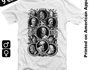 Greek Philosophers American Apparel T-shirt S-XXL Herodotus, Sophocles, Socrates, Euripidis, Plato, Aristophanes, Aeschilos Cool Gift