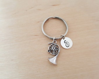 French Horn Keychain - Music Gift - Personalized Keychain - Initial Keychain - Custom Key Chain - Personalized Gift - Gift for Him / Her