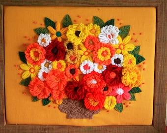 Crewel Flower Yarn Art Wall Hanging Happy Happy Colors