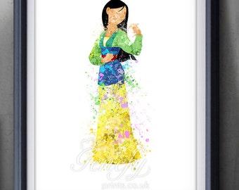 Disney Mulan Watercolor Poster Print - Watercolor Painting - Home Decor - Watercolor Art - Kids Decor- Nursery Decor