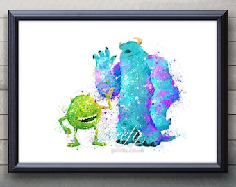 Disney Pixar Monsters Inc Mike and Sully Watercolor Poster Print - Watercolor Painting - Watercolor Art - Kids Decor- Nursery Decor
