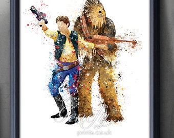 Star Wars Han Solo Chewbacca Watercolor Art Poster Print - Wall Decor -  Watercolor Painting - Home Decor - Kids Decor - Nursery Decor