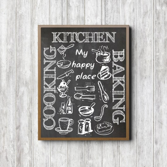 Kitchen Chalkboard Wall Art Printable My Happy Place Quote
