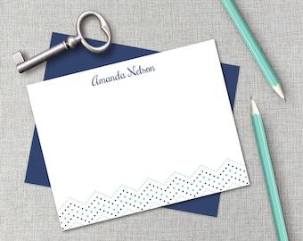 Personalized Stationery / Personalized Stationary Set / Polka Dot Chevron Stationary / Monogram Stationary / Flat Note Card / Thank You Card