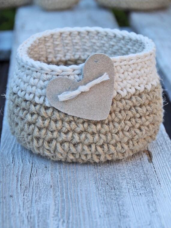 Crochet Basket Heart Gift Basket Cotton Linnen Natural