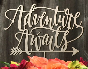 Adventure Awaits Cake Topper, Wedding Cake Topper, Wedding Cake Decor, Lettered Cake Topper