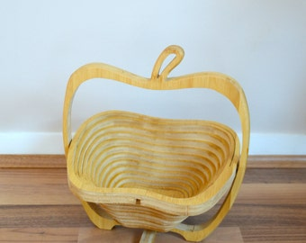 vintage wooden Apple shaped fruit bowl