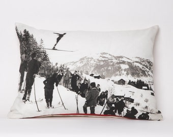 Throw pillow, winter decor, ski pillow, vintage photography, Gstaad, 1924 -- 19 x 14 Pillow Cover Includes Insert