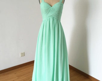 Wide Straps Sweetheart Mint Chiffon Long Bridesmaid Dress