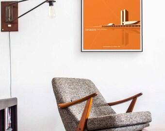 National Congress of Brazil. Oscar Niemeyer. 27,5 in x 19,6 in
