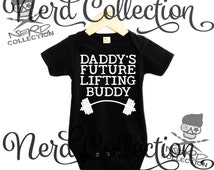 Baby Black Onesie Daddy's Future Lifting Buddy Gym Beast Barbell Workout Crossfit Trainer Baby Shower Gift Nursery Funny Custom Clothing