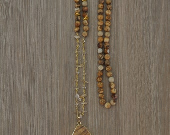 Stacked Stone Pendant // Neutral Statement
