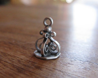 Beautiful Antique French Silver Scroll Pendant or Bracelet Charm