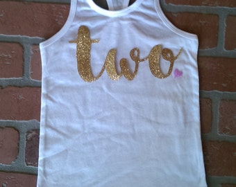 Second Birthday Tank Top Glitter Two Shirt. Two Birthday oufit. Custom Second Birthday. Birthday Shirt. Cake Smash Shirt.Girl's Birthday