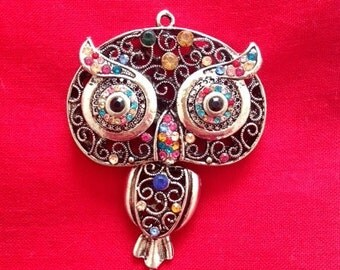 1 Large Owl Pendant, Antique Silver Tone with Rhinestone Charm, BRU 091