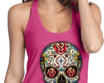 Ladies Skull Tanktop Sugar Skull with Roses T-Back Tank Top WS-16553-DT250