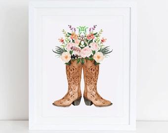 Cowboy Boots Art Print, Instant Download, Watercolor Print, Western Print, Cowboy Boot Print, Rustic Home Decor, Cowboy Art, Cowboys Decor
