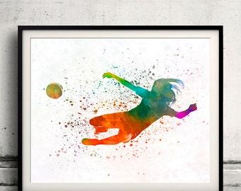 Woman soccer player 14 in watercolor - poster watercolor wall art splatter sport illustration print Glicée artistic - SKU 2124