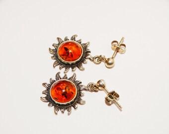 """Vintage 925 Sterling Silver Amber 1"""" Earrings."""