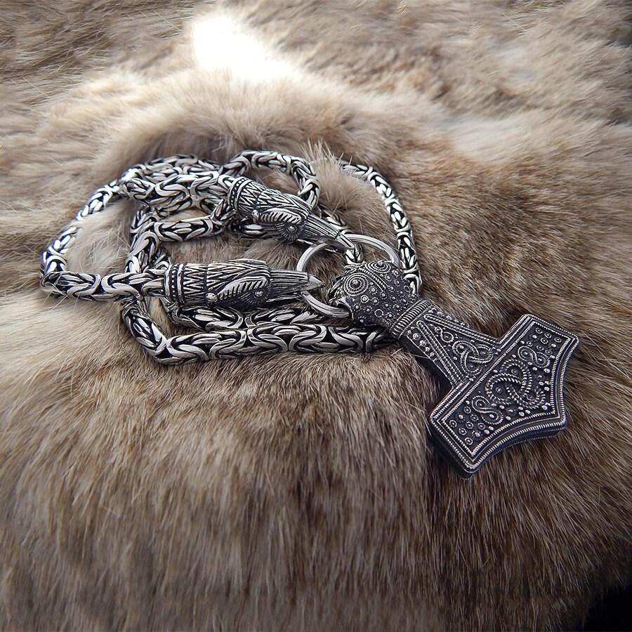 totem necklace ravens of odin viking chain geri and freki