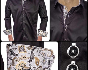Black with Grey and Gold Paisley Men's Designer Dress Shirt - Made To Order in USA